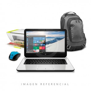 "COMBO: Laptop HP 14-af106la, AMD A6-5200 2.0GHz, RAM 4GB, HDD 500GB, DVD, 14"" HD, Win10 Home + Multifuncional HP + Mochila + Mouse"