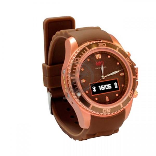 "Reloj SMART WATCH, Pantalla 0.68"" 96x32, Bluetooth, metal, marron"