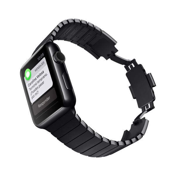 Reloj Pulsera Apple Watch, Pantalla Retina con Cristal de Zafiro Táctil, Acero Inoxidable en Negro Espacial de 42mm, Bluetooth 4.0, WiFi