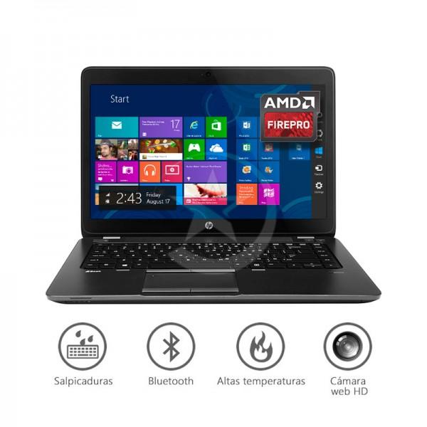 "Laptop HP ZBook 14-UP Workstation Intel Core i7 4600U 2.1GHz , RAM 8GB, HDD 750GB, Video 1GB FirePro M4100,14.0"" HD, Win 7 / Win 10 Pro + 3 años Garantía extendida"