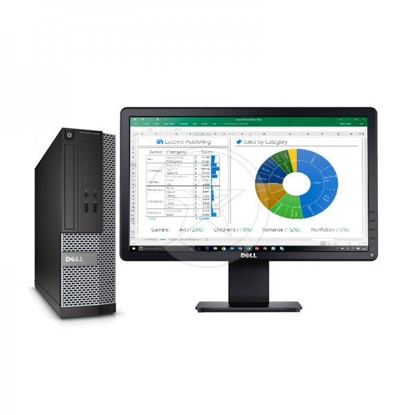 "PC Dell OptiPlex 3020 SFF Intel Core i5 4570 3.2GHz, RAM 8GB, SSD 128GB, DVD+RW, Windows 7 Pro + Monitor LED 18.5"""