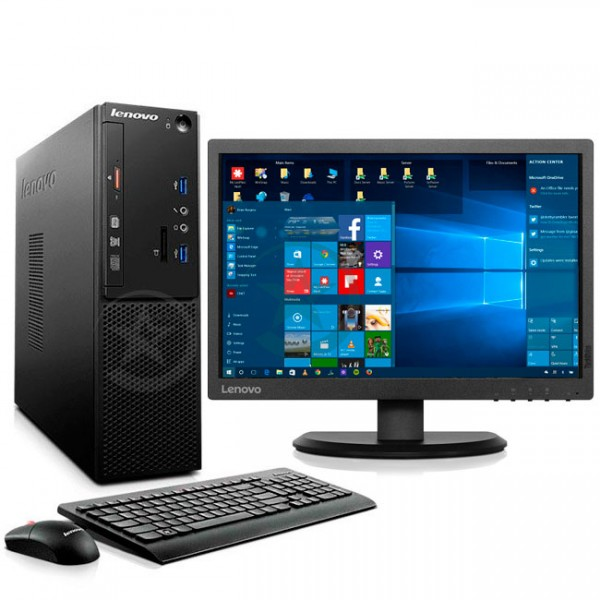 PC Lenovo S510 SFF, Intel Core i3-6100 3.7GHz, RAM 4GB, HDD 500GB, DVD, Windows 10 Pro + Monitor Lenovo ThinkVision E2054