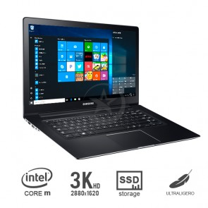"Ultrabook Samsung  ATIV Book 9, Core M-5Y31, SSD 256GB, RAM 8GB, LED 12.2"" WQXGA , Win 10 - Ultra delgado 0.99 Kg"